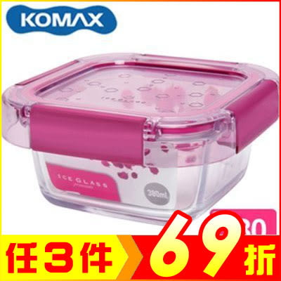 韓國 KOMAX 冰鑽方形強化玻璃保鮮盒 粉 380ml 59850【AE02266】JC雜貨