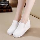 2021春夏季新款超纖皮面女鞋韓版內增高樂福鞋厚底帆布休閒小白鞋寶貝計畫 上新