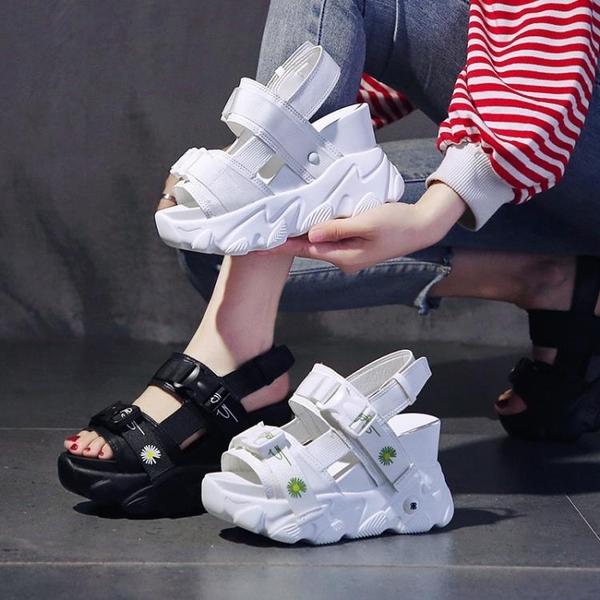 增高涼鞋 厚底涼鞋女超火高跟夏季新款百搭鬆糕內增高運動沙灘羅馬女鞋-Ballet朵朵
