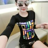 長袖T恤  女裝韓版修身印花上衣白色純棉長袖T恤女 『歐韓流行館17』