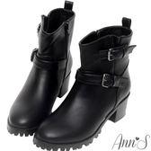 Ann'S韓國軍裝風率性雙釦帶工程短靴-黑