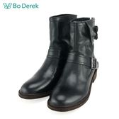 【Bo Derek 】率性環扣拉鍊短靴-黑