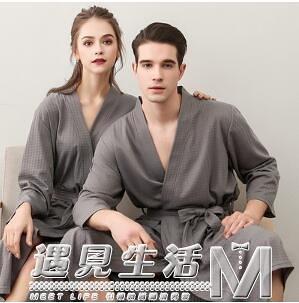 睡袍女夏季薄款男睡衣吸水速干華夫格四季通用女日式情侶長款浴袍