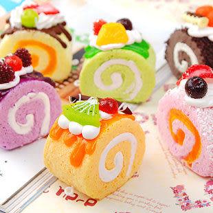 時尚掛飾 超逼真 北海道蛋糕 手機鏈/包包掛飾 6個