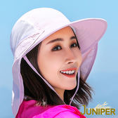 防曬帽子-女款抗UV防紫外線寬大帽眉遮陽休閒帽+可拆式披風J7237 JUNIPER朱尼博