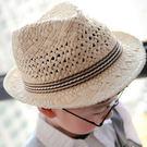 【童】捲邊鏤空編織草帽 2色【E297205】