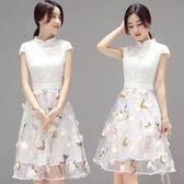 短袖洋裝 連身裙 女韓版修身高腰中裙女蕾絲小個子-巴黎時尚