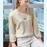 針織衫撞色內搭V領拼接雪紡袖寬鬆上衣(三色S-2XL可選)/設計家 AL50232