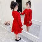洋裝 女童雪紡洋裝連衣裙春秋新款洋氣兒童長袖裙子春裝薄款公主小女孩 快速出貨