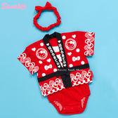 日本限定 HELLO KITTY  日式和服 甚平 浴衣 嬰兒  包屁衣 蝴蝶結頭帶 套組