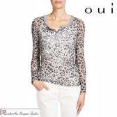 oui 德國品牌 二件式灰豹紋銀色燙印長袖上衣(中大尺碼服飾)