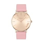 COACH 經典玫瑰金粉色皮帶腕錶36mm(14503332)