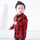 韓版經典後背印字紅格襯衫親子裝(小孩)