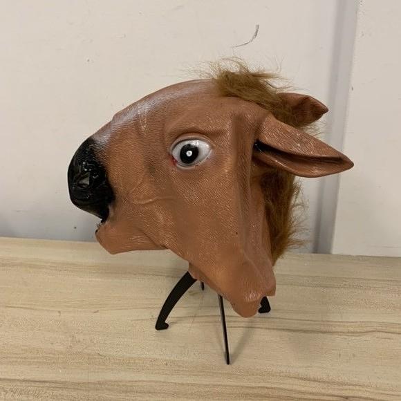 動物頭套馬頭面具可愛搞怪馬頭套酒吧COS萬聖節表演道具(777-7445)