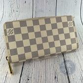 BRAND楓月 LOUIS VUITTON LV 路易威登 N60019 白棋盤拉鍊長夾 錢包 皮夾 錢夾 ㄇ字拉鍊