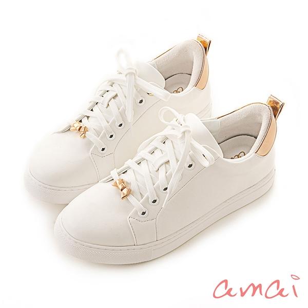 amai撞色拼接綁帶小白鞋 玫瑰金