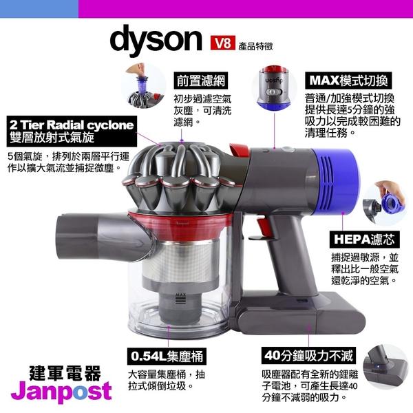 Dyson 戴森 V8 Fluffy SV10 無線手持吸塵器 五吸頭版 一年保固 送車充 建軍電器