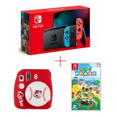任天堂 Nintendo Switch 電力加強版紅藍主機+動物森友會遊戲片+富士廣島鯉魚拍立得 公司貨