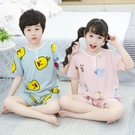 夏季兒童睡衣棉綢家居服男童女童裝夏天寶寶薄款男孩套裝綿綢短袖 滿天星