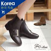 靴.大方釦低跟短靴-FM時尚美鞋-韓國精選.Winter