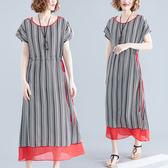文藝洋裝 文藝大碼女裝夏天流行雪紡長裙子寬鬆顯瘦抽繩系帶條紋休閒洋裝