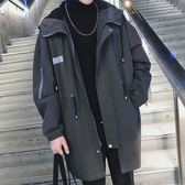 風衣中長款秋季新款韓版寬鬆潮流連帽休閒外套男士學生帥氣『櫻花小屋』