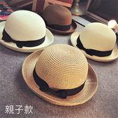 英倫風圓頂編織親子小禮帽 遮陽帽 親子帽 童帽 草帽 草編帽