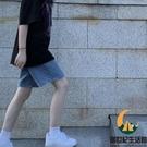 牛仔短褲女夏高腰顯瘦a字闊腿中褲寬鬆五分褲【創世紀生活館】