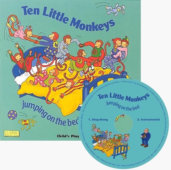 Classic Books With Holes:Ten Little Monkey 十隻猴子在床上跳 童謠洞洞CD故事書