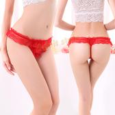 少女 低腰 內褲 丁字褲 純真迷戀(紅色)蕾絲花邊性感丁字褲【耶誕慶典】