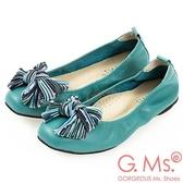 G.Ms. MIT系列-牛皮條紋蝴蝶結方頭娃娃鞋-湖水綠