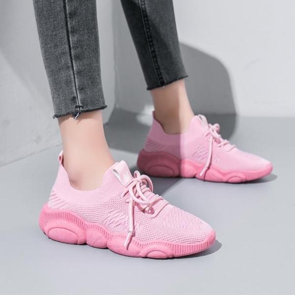 椰子鞋 運動鞋女2020春季新款百搭飛織椰子小熊透氣小白鞋女老爹鞋ins潮 小宅女