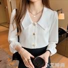 白襯衫女長袖2021春裝娃娃領寬松職業時尚氣質雪紡襯衣寸上衣女潮 小艾新品