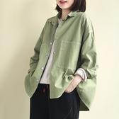 純棉襯衫 明線裝飾短款上衣 韓版翻領襯衫 白襯衫/2色 -夢想家-0214