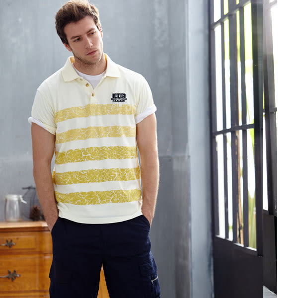 【JEEP】條紋POLO衫-黃色
