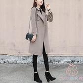 大衣外套女韓版寬鬆毛呢外套中長款時尚潮流【少女顏究院】