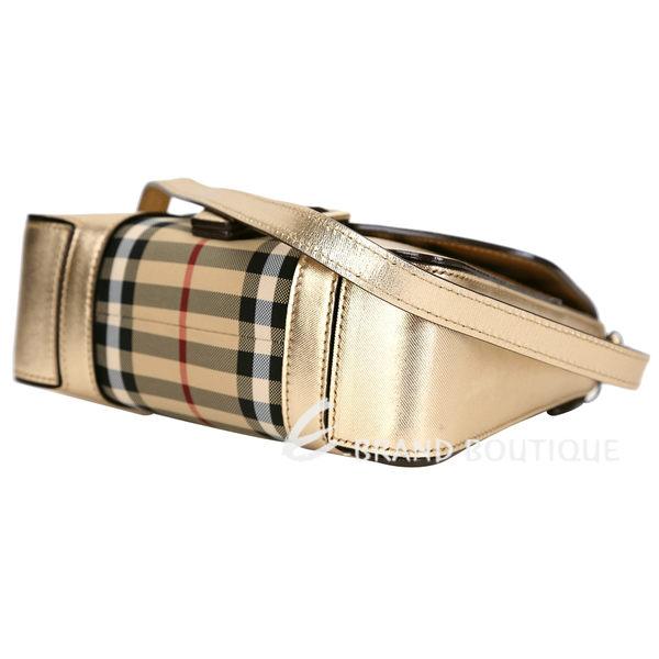 BURBERRY HOUSE 格紋皮革小型斜背包(金色) 1620726-24