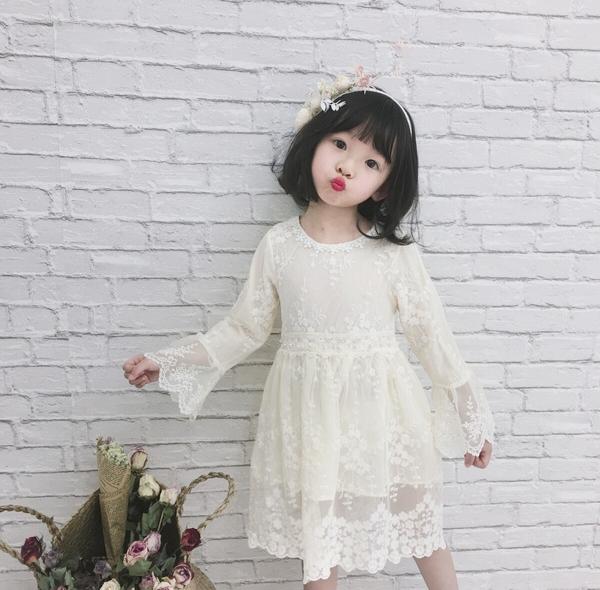 蕾絲繡花紗裙洋裝 長袖洋裝 蕾絲洋裝 連身洋裝 連衣裙 紗裙 女童 橘魔法 洋裝