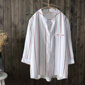 夏季新款豎條紋v領休閑襯衫七分袖上衣女正韓學生寬鬆顯瘦打底衫~秋水伊人