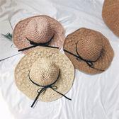 草帽女夏天百搭小清新手工編織大沿帽折疊韓版海邊度假防曬遮陽帽