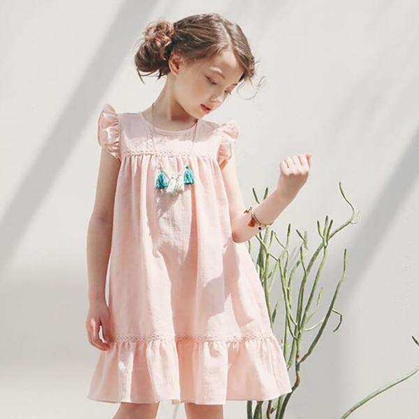 女童洋裝夏季2021新款兒童夏裝睡衣休閒棉麻公主裙子白色寬鬆裙 幸福第一站