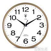 北極星掛鐘客廳圓形現代簡約掛錶靜音鐘錶家用臥室石英鐘電子時鐘 WD初語生活館