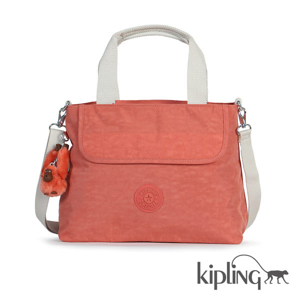 Kipling 粉橘素面手提側背包-中