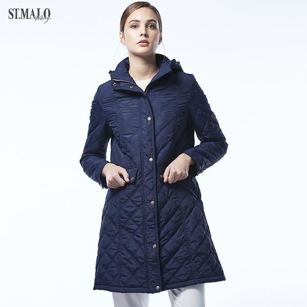 【ST.MALO】經典高質感雙菱格長大衣-1840WJ-深海藍