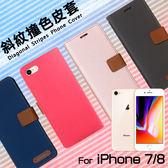 ●Apple 蘋果 iPhone 7/iPhone 8 精彩款 斜紋撞色皮套 i7 i8 可立式 側掀 側翻 皮套 插卡 保護套 手機套