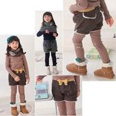 秋冬甜美俏皮女童蝴蝶結造型腰帶毛絨短褲