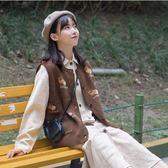 馬甲奶兔星球-自制曲奇餅干馬甲女針織復古毛衣背心開衫秋冬2色 【四月上新】