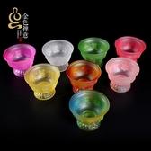 琉璃供杯七彩八吉祥供佛圣水杯佛前貢杯佛教家居供奉供具擺件