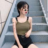 女裝韓版純色簡約百搭修身顯瘦可調節吊帶背心外穿上衣學生潮【蘇迪蔓】