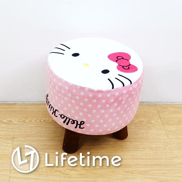 ﹝Kitty圓型絨毛矮凳椅﹞正版 凳椅 換鞋凳 矮凳 椅子 小凳椅 凱蒂貓〖LifeTime一生流行館〗